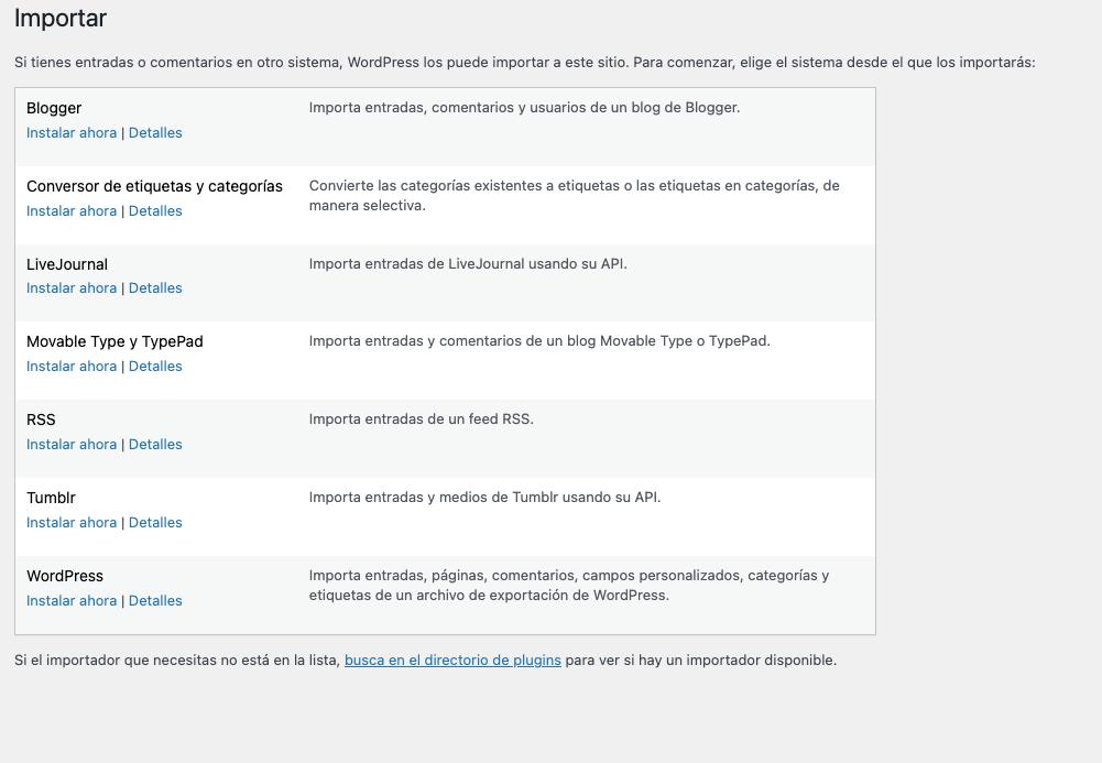 Importador nativo WordPress